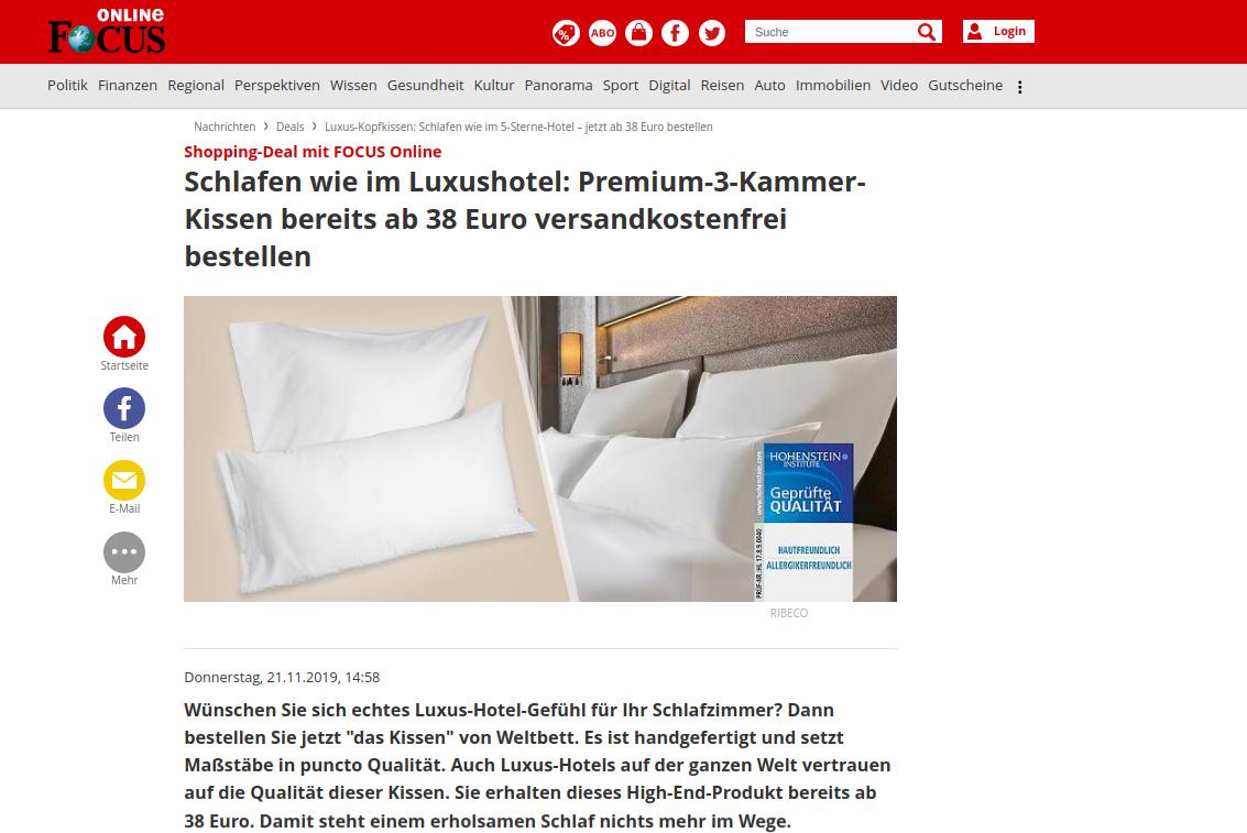 FOCUS Online Weltbett Bericht
